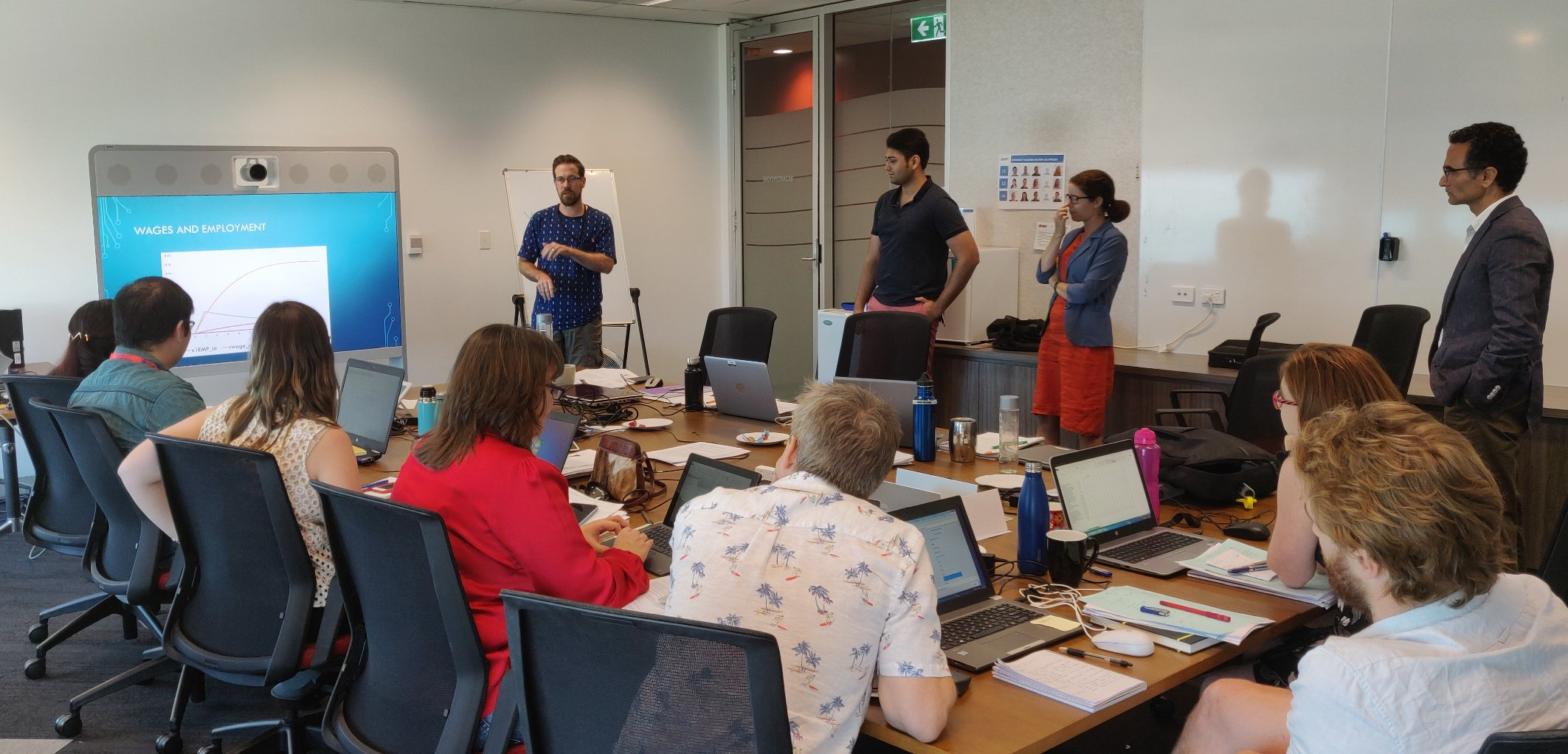 Participants explain their simulation results at a VURM training course held September 2019 in Darwin, NT