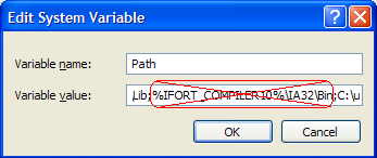 Intel Fortran 11.0 edit system path step 1