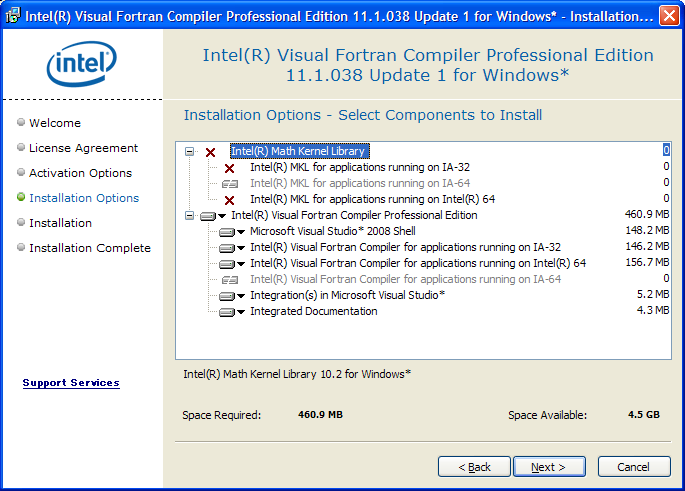 Intel Fortran 11.1 component selection