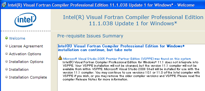 Intel Fortran 11.1 Pre-requisite Issues Warning