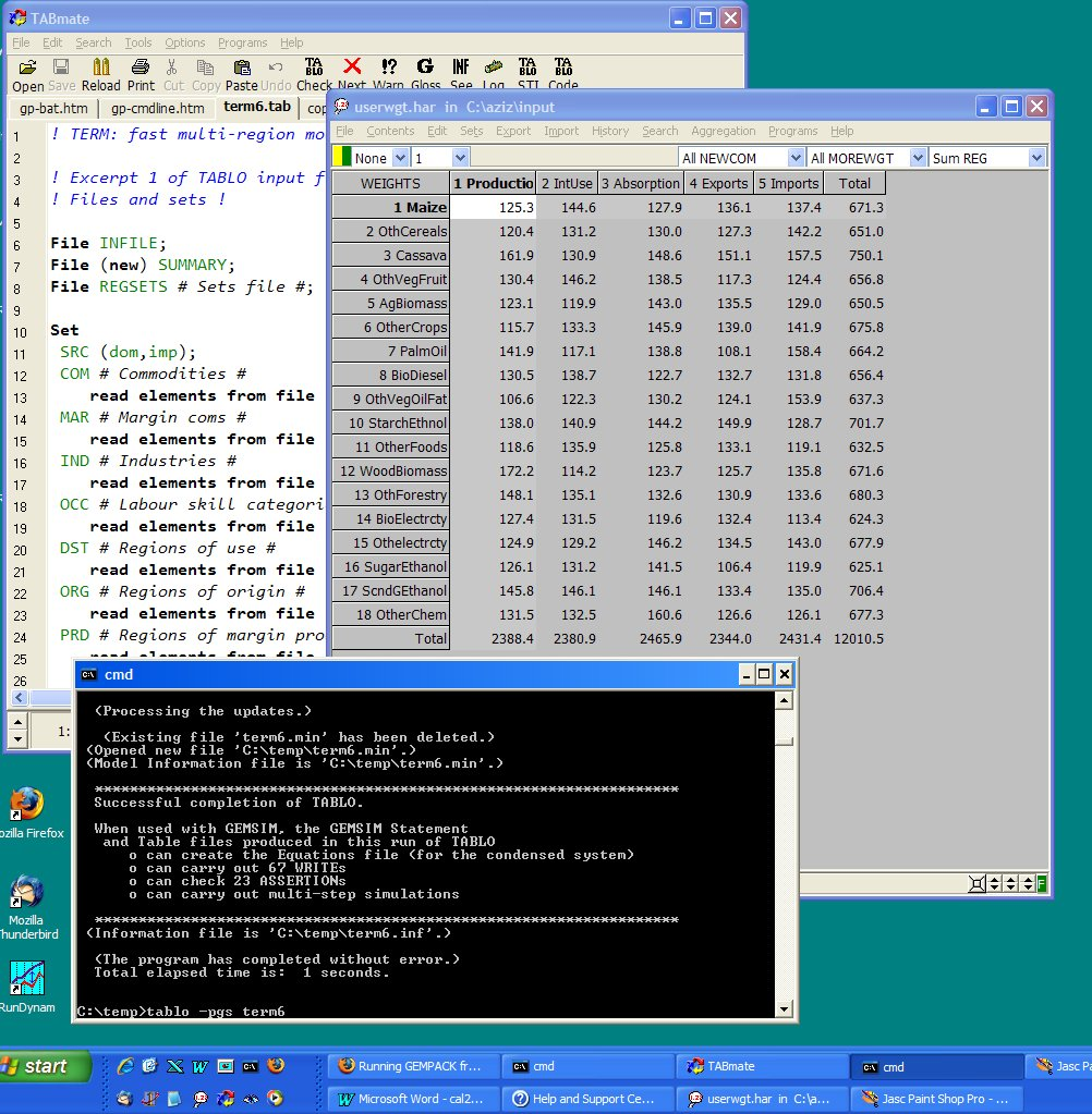 Running GEMPACK from the command-prompt